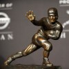 Dec. 10, 2011 - New York, NY, USA - The Heisman Trophy is on display onstage after quarterback Robert Griffin III of Baylor University holds a press conference after winning the award at The New York Marriott Marquis. (Credit Image: © Mark Makela/ZUMAPRESS.com)