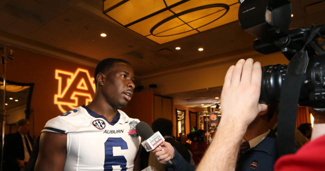 Jan 4, 2014; Newport Beach, CA, USA; Auburn Tigers quarterback Jeremy Johnson (6) answers questions during Media Day at Newport Beach Marriott. Mandatory Credit: Matthew Emmons-USA TODAY Sports