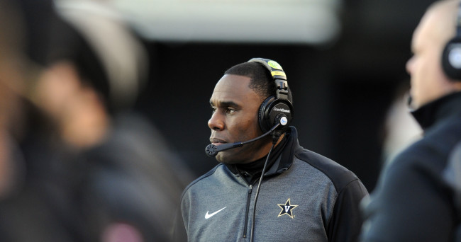 Nov 29, 2014; Nashville, TN, USA; Vanderbilt Commodores head coach Derek Mason during the first half against the Tennessee Volunteers at Vanderbilt Stadium. Mandatory Credit: Christopher Hanewinckel-USA TODAY Sports