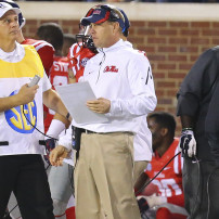 Nov 29, 2014; Oxford, MS, USA; Mississippi Rebels head coach Hugh Freeze looks on against the Mississippi State Bulldogs at Vaught-Hemingway Stadium. The Rebels won 31-17.  Mandatory Credit: Spruce Derden-USA TODAY Sports