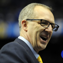 Mar 12, 2015; Nashville, TN, USA; SEC executive associate commissioner Greg Sankey talks with members of the media prior to the South Carolina Gamecocks game against the Mississippi Rebels at Bridgestone Arena. Sankey will replace commissioner Mike Slive as SEC commissioner starting Aug. 1.  Mandatory Credit: Christopher Hanewinckel-USA TODAY Sports