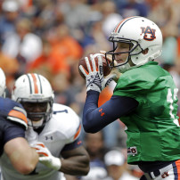 Apr 18, 2015; Auburn, AL, USA; Auburn Tigers quarterback Sean White (13) looks for a receiver during the A-Day game at Jordan-Hare Stadium. Mandatory Credit: John Reed-USA TODAY Sports