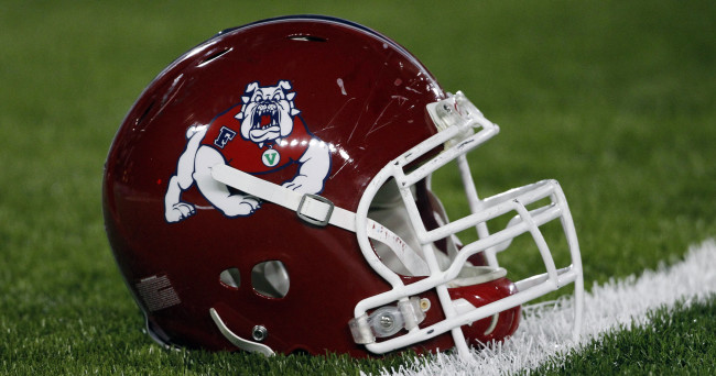 Nov 9, 2013; Laramie, WY, USA; A detail view of the Fresno State Bulldogs helmet before a game against the Wyoming Cowboys at War Memorial Stadium. Mandatory Credit: Troy Babbitt-USA TODAY Sports