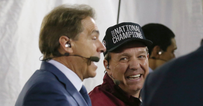 Jan 6, 2014; Pasadena, CA, USA; Florida State Seminoles head coach Jimbo Fisher shares a laugh with Alabama Crimson Tide head coach Nick Saban on the ESPN post game set after defeating the Auburn Tigers 34-31 during the second half of the 2014 BCS National Championship game at the Rose Bowl.  Mandatory Credit: Matthew Emmons-USA TODAY Sports