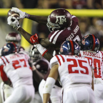 Oct 11, 2014; College Station, TX, USA; Texas A&M Aggies wide receiver Ricky Seals-Jones (9) catches a pass during the third quarter against the Mississippi Rebels at Kyle Field. Mandatory Credit: Troy Taormina-USA TODAY Sports