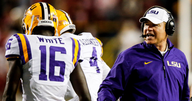 Nov 8, 2014; Baton Rouge, LA, USA; LSU Tigers head coach Les Miles during the first quarter of a game against the Alabama Crimson Tide at Tiger Stadium. Mandatory Credit: Derick E. Hingle-USA TODAY Sports