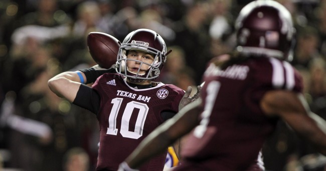 Nov 27, 2014; College Station, TX, USA; Texas A&M Aggies quarterback Kyle Allen (10) attempts a pass during the first quarter against the LSU Tigers at Kyle Field. Mandatory Credit: Troy Taormina-USA TODAY Sports