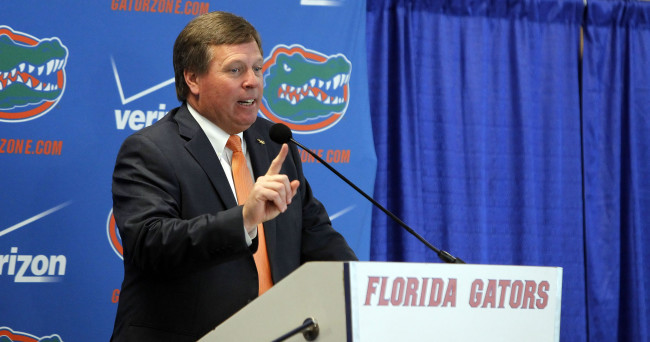 Dec 6, 2014; Gainesville, FL, USA; Florida Gators head coach Jim McElwain is introduced as head coach during a press conference at Ben Hill Griffin Stadium. Mandatory Credit: Kim Klement-USA TODAY Sports