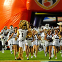 Dec 31, 2014; Miami Gardens, FL, USA; Mississippi State Bulldogs mascot takes the field before a game against the Georgia Tech Yellow Jackets in the 2014 Orange Bowl at Sun Life Stadium. Mandatory Credit: Steve Mitchell-USA TODAY Sports