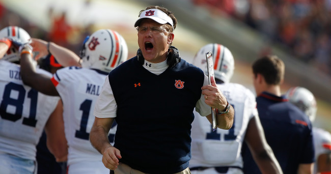 Jan 1, 2015; Tampa, FL, USA; Auburn Tigers head coach Gus Malzahn reacts against the Wisconsin Badgers during the second half in the 2015 Outback Bowl at Raymond James Stadium. Wisconsin Badgers defeated the Auburn Tigers 34-31 in overtime. Mandatory Credit: Kim Klement-USA TODAY Sports