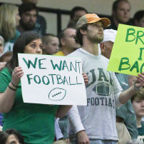 Mar 14, 2015; Birmingham, AL, USA;  UAB Blazers fans are stilling showing their support to fire university president  Ray Watts (not pictured) after he disbanded football after the regular season during the Conference USA Tournament Championship at Jefferson Convention Complex. Mandatory Credit: Marvin Gentry-USA TODAY Sports