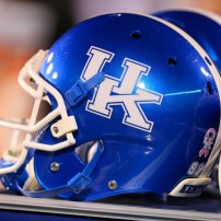 Oct 24, 2013; Starkville, MS, USA; Kentucky Wildcats helmet during the game against the Mississippi State Bulldogs at Davis Wade Stadium. Mississippi State Bulldogs win the game against Kentucky Wildcats 28-22.  Mandatory Credit: Spruce Derden-USA TODAY Sports