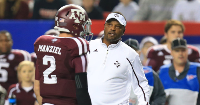 Dec 31, 2013; Atlanta, GA, USA;  Texas A&M Aggies quarterback Johnny Manziel (2) speaks with head coach Kevin Sumlin during the second quarter against the Duke Blue Devils in the 2013 Chick-fil-A Bowl at the Georgia Dome. Mandatory Credit: Daniel Shirey-USA TODAY Sports