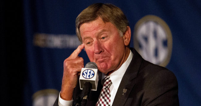 Jul 15, 2014; Hoover, AL, USA; South Carolina Gamecocks head coach Steve Spurrier talks to the media during the SEC Football Media Days at the Wynfrey Hotel. Mandatory Credit: Marvin Gentry-USA TODAY Sports
