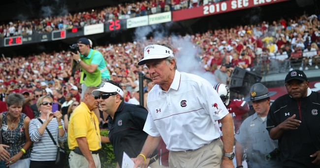 Sep 6, 2014; Columbia, SC, USA;  South Carolina Gamecocks head coach Steve Spurrier takes the field during  game action between the South Carolina Gamecocks and East Carolina Pirates at Williams-Brice Stadium. South Carolina wins 33-23 over East Carolina. Mandatory Credit: Jim Dedmon-USA TODAY Sports