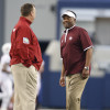 Sep 27, 2014; Arlington, TX, USA; Texas A&M Aggies head coach Kevin Sumlin (right) talks with Arkansas Razorbacks head coach Bret Bielema prior to the game at AT&T Stadium. Mandatory Credit: Matthew Emmons-USA TODAY Sports