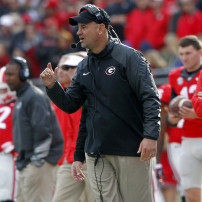 Nov 1, 2014; Jacksonville, FL, USA; Georgia Bulldogs defensive coordinator Jeremy Pruitt during the first half against the Florida Gators at EverBank Field. Mandatory Credit: Kim Klement-USA TODAY Sports