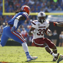 Nov 15, 2014; Gainesville, FL, USA;South Carolina Gamecocks running back David Williams (33) runs with the ball as Florida Gators linebacker Neiron Ball (11) defends during the first quarter at Ben Hill Griffin Stadium. Mandatory Credit: Kim Klement-USA TODAY Sports