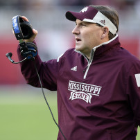 Nov 15, 2014; Tuscaloosa, AL, USA;  Mississippi State Bulldogs head coach Dan Mullen reacts on the sideline against the Alabama Crimson Tide in the second quarter at Bryant-Denny Stadium. Mandatory Credit: John David Mercer-USA TODAY Sports