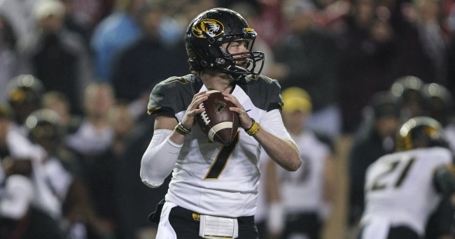 Nov 15, 2014; College Station, TX, USA; Missouri Tigers quarterback Maty Mauk (7) looks for an open receiver during the first quarter against the Texas A&M Aggies at Kyle Field. Mandatory Credit: Troy Taormina-USA TODAY Sports