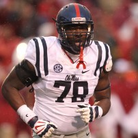 Nov 22, 2014; Fayetteville, AR, USA; Ole Miss Rebels offensive lineman Laremy Tunsil (78) during the game against the Arkansas Razorbacks at Donald W. Reynolds Razorback Stadium. Arkansas defeated Mississippi 30-0. Mandatory Credit: Nelson Chenault-USA TODAY Sports
