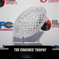 Dec 7, 2014; New York, NY, USA; A view of the Coaches Trophy during the Amway Coaches Poll Reveal at NYIT Auditorium. Mandatory Credit: Andy Marlin-USA TODAY Sports