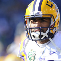 Dec 30, 2014; Nashville, TN, USA; LSU Tigers quarterback Anthony Jennings (10) prior to the game against the Notre Dame Fighting Irish in the Music City Bowl at LP Field. Mandatory Credit: Christopher Hanewinckel-USA TODAY Sports