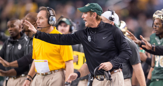 Jan 1, 2015; Arlington, TX, USA; Baylor Bears head coach Art Briles during the game against the Michigan State Spartans in the 2015 Cotton Bowl Classic at AT&T Stadium. The Spartans defeated the Bears 42-41. Mandatory Credit: Jerome Miron-USA TODAY Sports