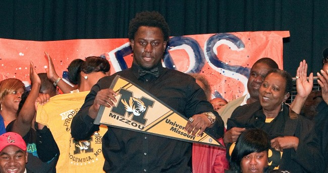Feb 4, 2015; East St. Louis, MO, USA; Terry Beckner Jr.  announces his decision to sign with the University of Missouri during a press conference for National Signing day at East St. Louis High School. Mandatory Credit: Scott Kane-USA TODAY Sports