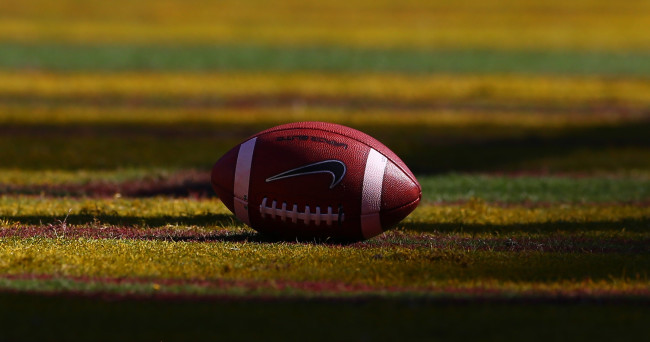 Nov 22, 2014; Tempe, AZ, USA; Detailed view of an official Nike football on the field during the Arizona State Sun Devils game against the Washington State Cougars at Sun Devil Stadium. The Sun Devils defeats the Cougars 52-31. Mandatory Credit: Mark J. Rebilas-USA TODAY Sports
