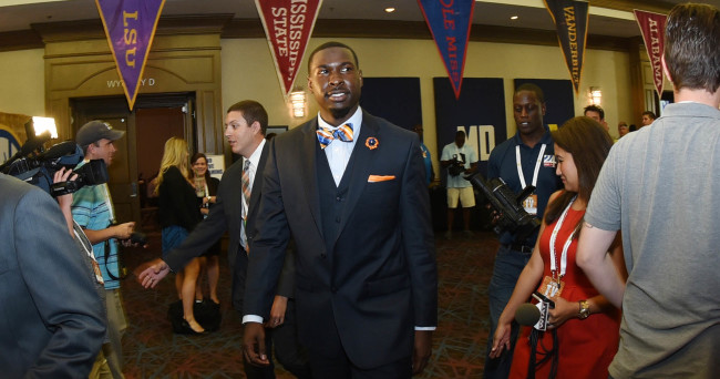 Jul 13, 2015; Hoover, AL, USA; Auburn quarterback Jeremy Johnson walks through the lobby during SEC media days at the Wynfrey Hotel. Mandatory Credit: Kelly Lambert-USA TODAY Sports