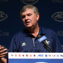 Jul 21, 2015; Pinehurst, NC, USA; Georgia Tech Yellow Jackets head coach Paul Johnson speaks with the media during the ACC football kickoff at Pinehurst Resort. Mandatory Credit: Jeremy Brevard-USA TODAY Sports
