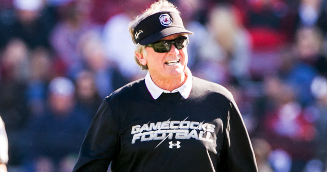 Nov 22, 2014; Columbia, SC, USA; South Carolina Gamecocks head coach Steve Spurrier reacts to a play against the South Alabama Jaguars in the second quarter at Williams-Brice Stadium. Mandatory Credit: Jeff Blake-USA TODAY Sports