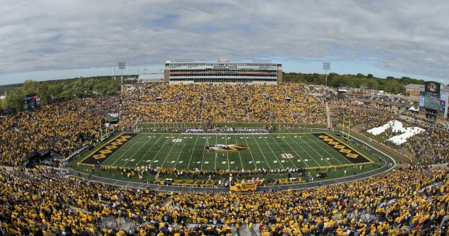 Oct 3, 2015; Columbia, MO, USA; A overall view during the national anthem before the game between the Missouri Tigers and the South Carolina Gamecocks at Faurot Field. Mandatory Credit: Jasen Vinlove-USA TODAY Sports