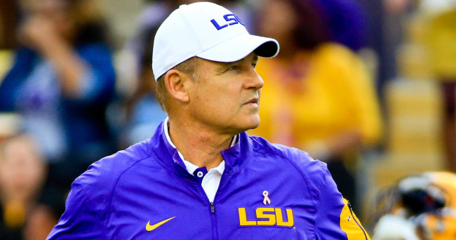 Oct 17, 2015; Baton Rouge, LA, USA; LSU Tigers head coach Les Miles looks on before a game against the Florida Gators at Tiger Stadium.  LSU defeated Florida 35-28. Mandatory Credit: Derick E. Hingle-USA TODAY Sports