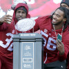 Jan 23, 2016; Tuscaloosa, AL, USA; Alabama linebacker Rashaan Evans (32) and linebacker Tim Williams (56) pose for a photo with the Crystal trophy during a presentation to celebrate the victory in the CFP National Championship game at Bryant-Denny Stadium. Mandatory Credit: Butch Dill-USA TODAY Sports