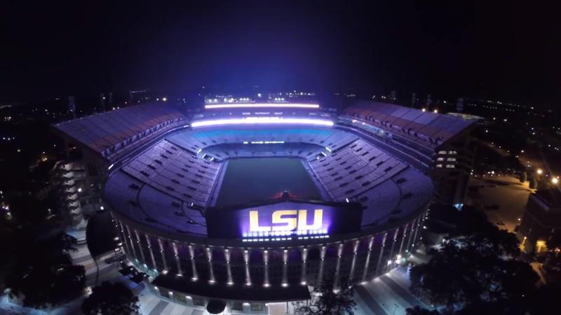 video lsus tiger stadium lights up the purple night