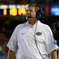 Sep 5, 2015; Gainesville, FL, USA; Florida Gators head coach Jim McElwain looks up during the second quarter at Ben Hill Griffin Stadium. Mandatory Credit: Kim Klement-USA TODAY Sports