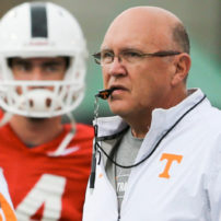 KNOXVILLE,TN - AUGUST 06, 2015 - Tennessee Volunteers Offensive Coordinator Mike DeBord during day 3 of Fall Football Camp on Haslam Field in Knoxville, TN. Photo By Craig Bisacre/Tennessee Athletics