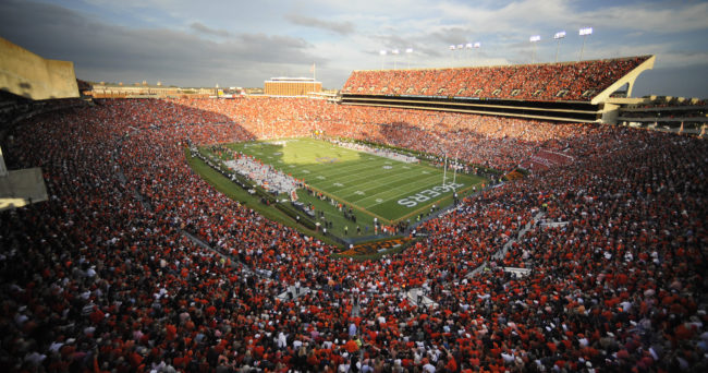 Nov 16, 2013; Auburn, AL, USA; A general view of the stadium during the game between the Auburn Tigers and the Georgia Bulldogs at Jordan Hare Stadium. Mandatory Credit: Shanna Lockwood-USA TODAY Sports