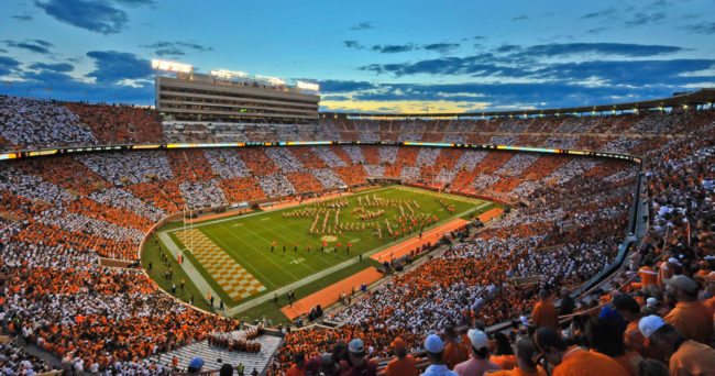 Sep 12, 2015; Knoxville, TN, USA; General view of Neyland Stadium at halftime during the game between Tennessee Volunteers and the Oklahoma Sooners. Oklahoma won 31-24. Mandatory Credit: Jim Brown-USA TODAY Sports