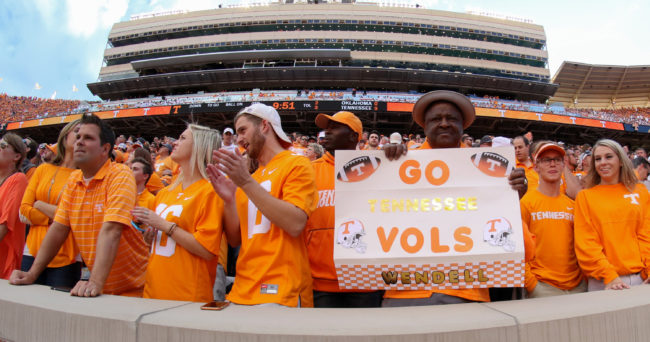 Sep 12, 2015; Knoxville, TN, USA; General view during the first quarter at Neyland Stadium during the game between the Oklahoma Sooners and the University of Tennessee. Mandatory Credit: Randy Sartin-USA TODAY Sports