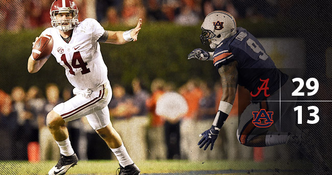 No. 2 Alabama holds on for a nail-biting win over Auburn