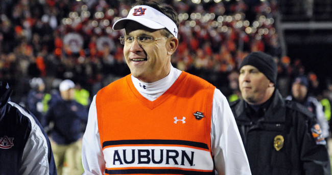 Nov 1, 2014; Oxford, MS, USA; Auburn Tigers head coach Gus Malzahn reacts after the win over the Ole Miss Rebels at Vaught-Hemingway Stadium. Auburn won 35-31. Mandatory Credit: Shanna Lockwood-USA TODAY Sports