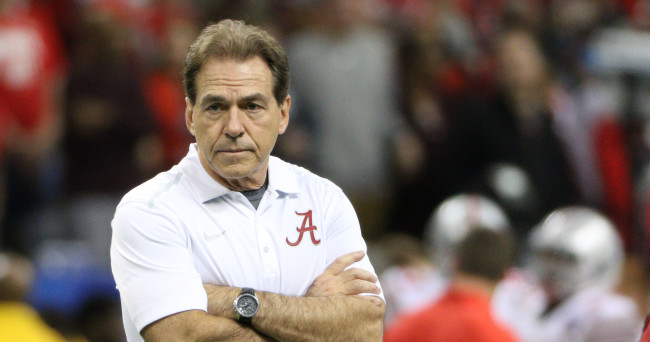 Jan 1, 2015; New Orleans, LA, USA; Alabama Crimson Tide head coach Nick Saban on the field prior to the 2015 Sugar Bowl against the Ohio State Buckeyes at Mercedes-Benz Superdome. Mandatory Credit: Derick E. Hingle-USA TODAY Sports
