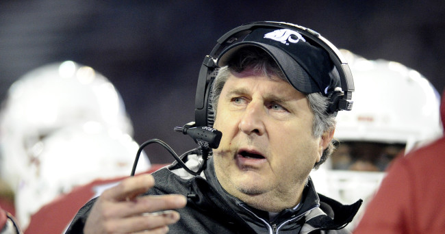 Nov 21, 2015; Pullman, WA, USA; Washington State Cougars head coach Mike Leach looks on against the Colorado Buffaloes during the first half at Martin Stadium. Mandatory Credit: James Snook-USA TODAY Sports