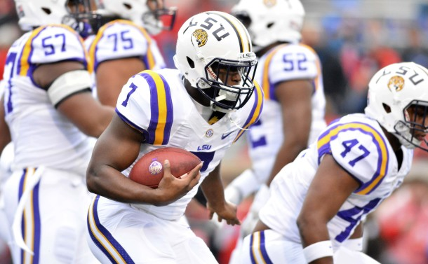 Nov 21, 2015; Oxford, MS, USA; LSU Tigers running back Leonard Fournette (7) warms up before the game against the Mississippi Rebels at Vaught-Hemingway Stadium. Mandatory Credit: Matt Bush-USA TODAY Sports