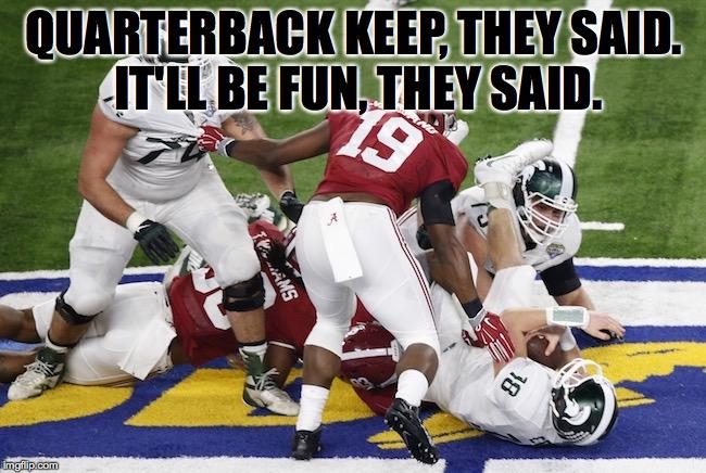 QB Keep Fun MEME best alabama vs michigan state football memes from the cotton bowl