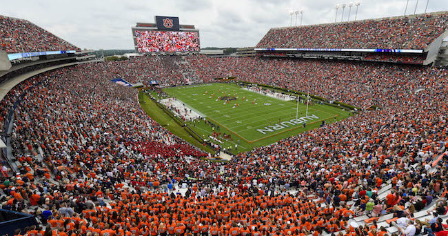 Sep 12, 2015; Auburn, AL, USA; General view of the stadium with the new video board prior to the game between the Auburn Tigers and the Jacksonville State Gamecocks at Jordan Hare Stadium. Mandatory Credit: Shanna Lockwood-USA TODAY Sports