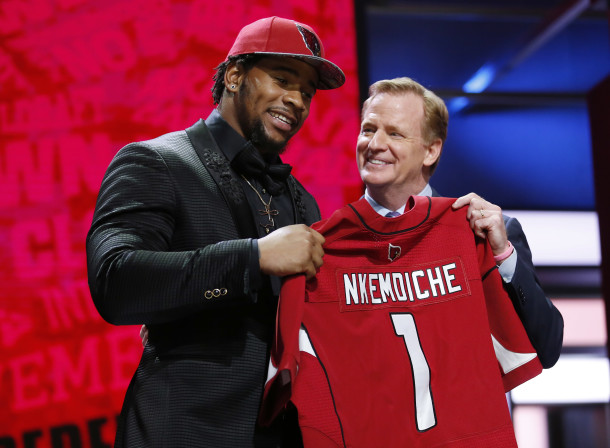 Apr 28, 2016; Chicago, IL, USA; Robert Nkemdiche (Mississippi) with NFL commissioner Roger Goodell after being selected by the Arizona Cardinals as the number twenty-nine overall pick in the first round of the 2016 NFL Draft at Auditorium Theatre. Mandatory Credit: Kamil Krzaczynski-USA TODAY Sports